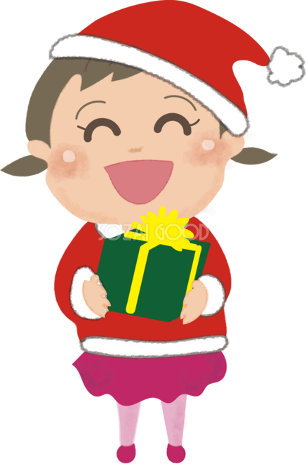 クリスマスプレゼントを笑顔で渡す女の子の無料イラスト58666 素材good