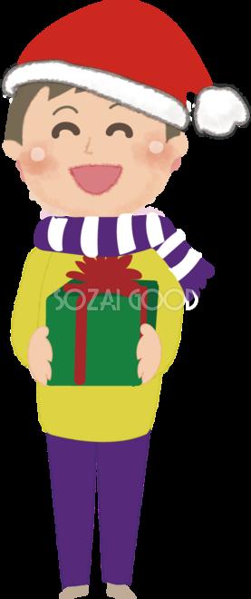 クリスマスプレゼントを笑顔で渡す男性の無料イラスト 素材good