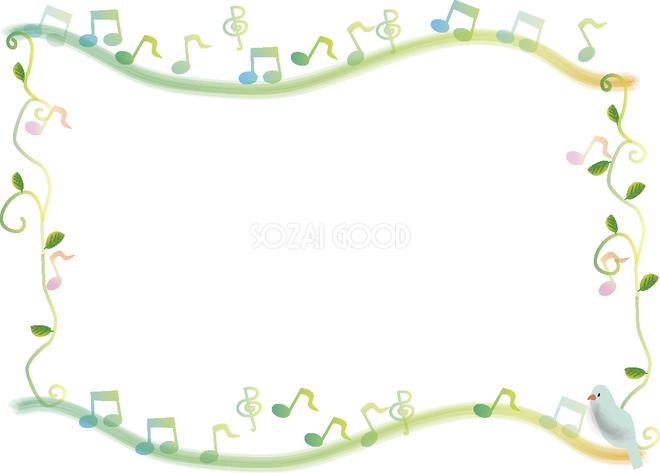 かわいい音符と小鳥フレーム飾り枠の無料イラスト59237 素材good