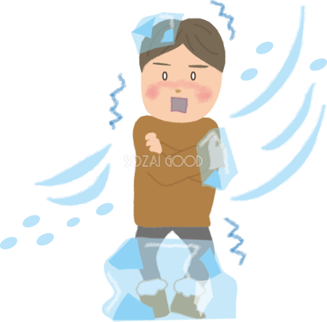 寒さで凍りそうな男性の無料イラスト61645 素材good
