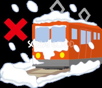 大雪で電車が動けないの無料イラスト61813