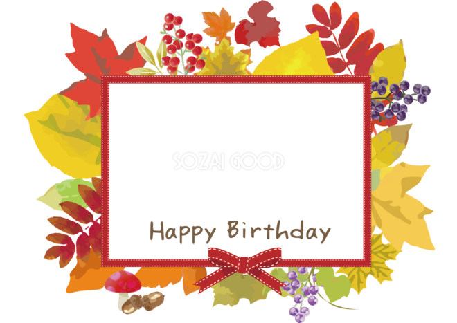 誕生日 秋の紅葉もみじ写真フレーム枠落ち葉無料イラスト61887