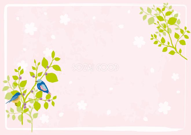春木と小鳥背景無料イラスト62346 素材good