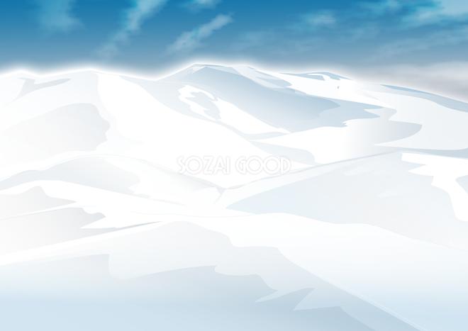 真っ白な雪山の背景無料イラスト62493 素材good