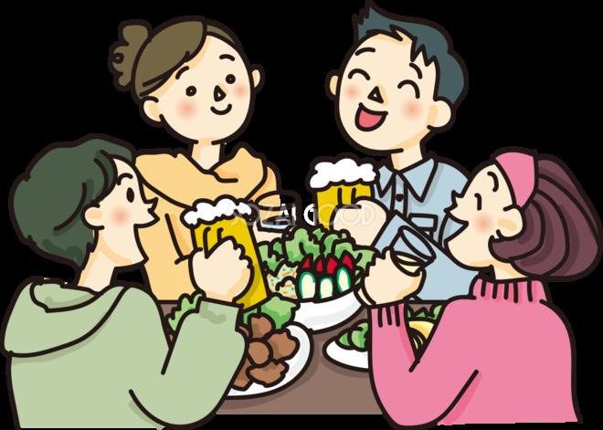 テーブルの食事を囲む人たちの飲み会の無料イラスト62541 素材good