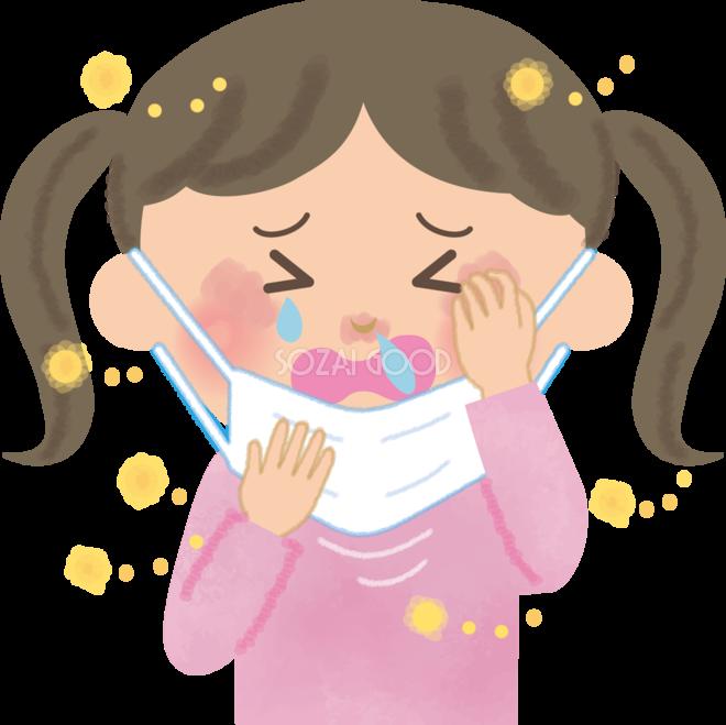 女の子小学生の花粉症 無料イラストマスク くしゃみ 鼻水 目の痒み