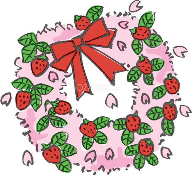 かわいいリース桜の花とイチゴ春の無料イラスト 素材good