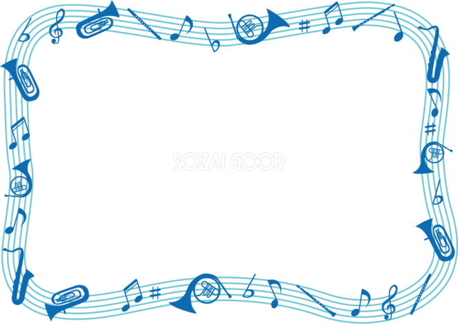 楽器トランペット 打楽器 サックスフレーム飾り枠の無料イラスト64001