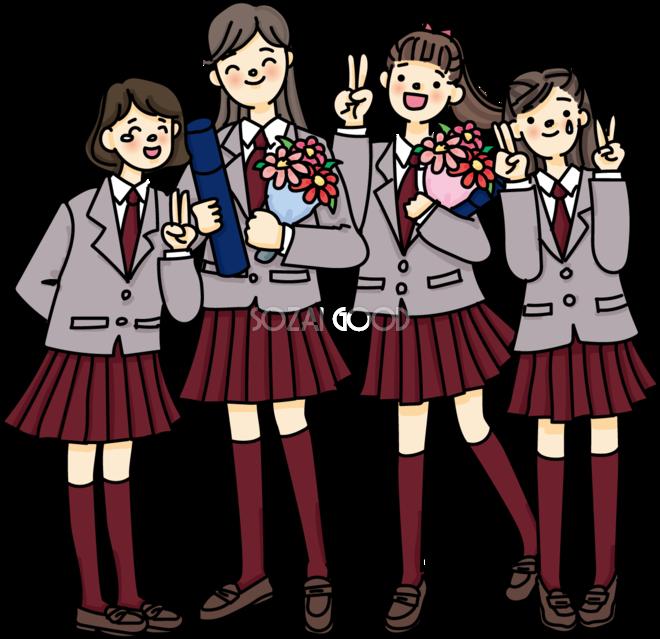 花束と卒業証書を持ち感動する卒業生中学生 高校生無料