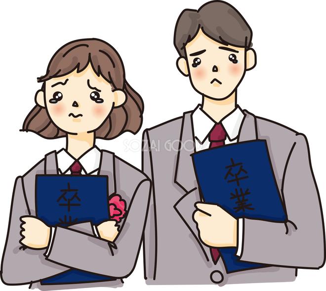 中学生 高校生卒業式に感動し泣きそうな無料イラスト64093