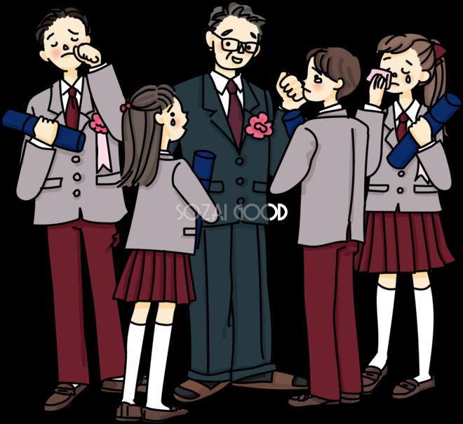 高校生の卒業式に先生を囲んで生徒たちが涙する感動シーン無料