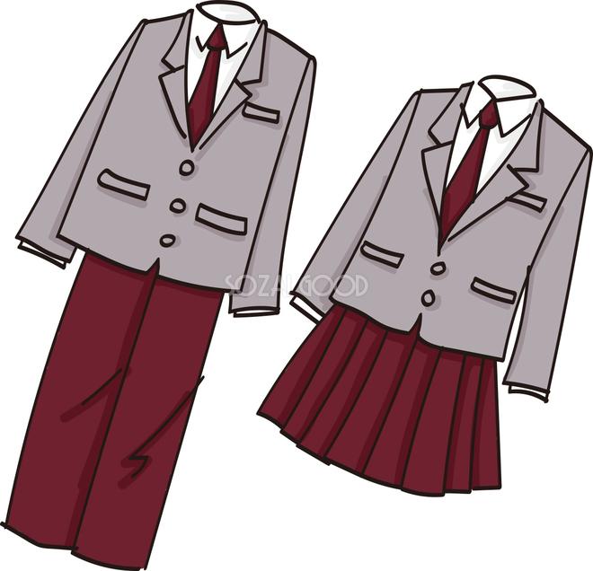 手書き風の簡単な男女学生服の卒業無料イラスト 素材good