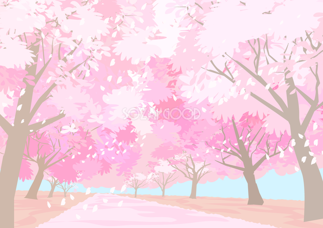 リアルな桜並木トンネルの綺麗な背景無料イラスト64472 素材good