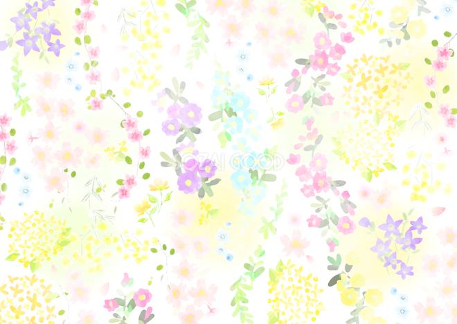 かわいい春の花のパステルカラー背景無料イラスト64500 素材good