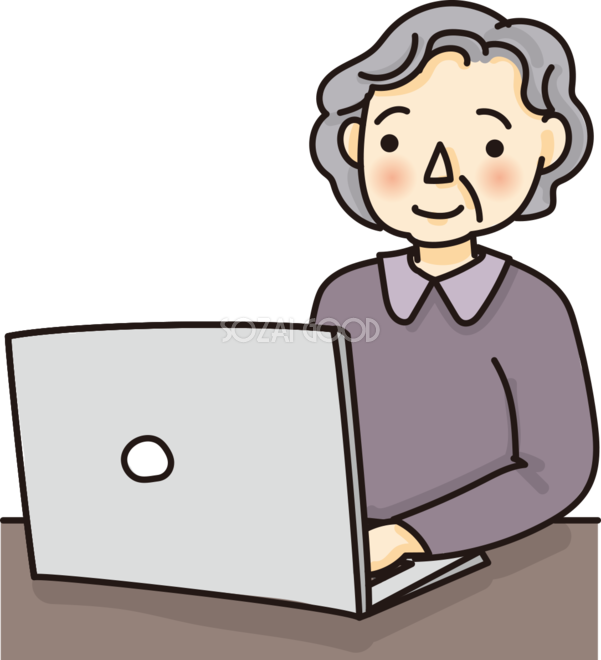 おばあちゃんがパソコンで文字打ちするかわいい料イラスト 素材good
