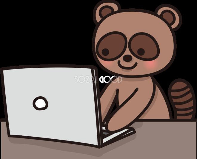 たぬきがパソコンで文字打ちするかわいい無料イラスト65966
