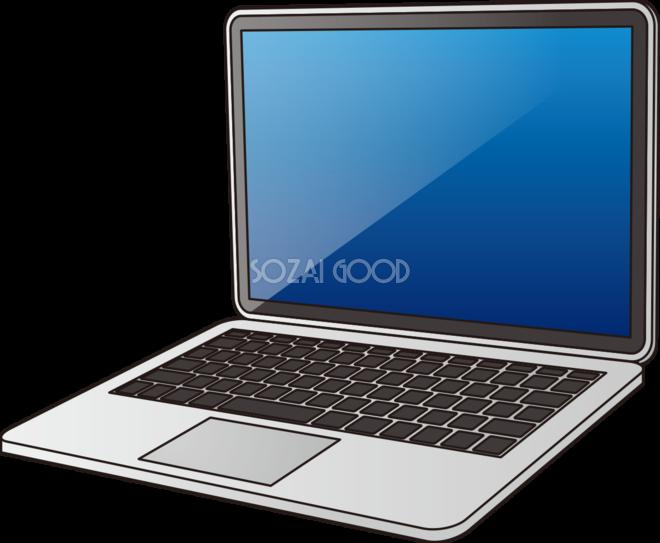 ノートパソコンの無料イラスト斜め向き65994 素材good