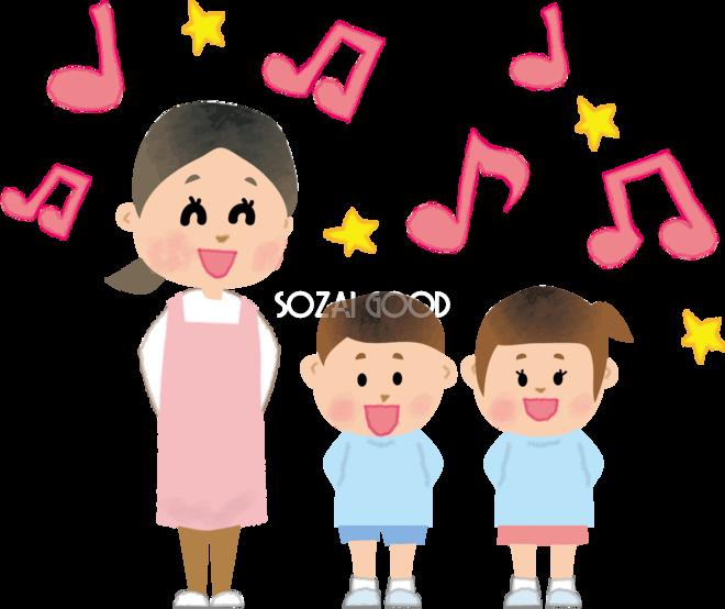 保育園児たちと保育士女性と歌う無料イラスト66187 素材good