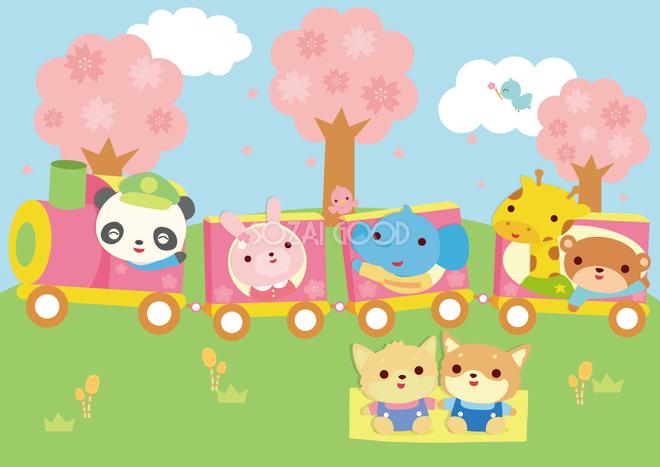 春の汽車に乗る動物たちの保育園 無料背景イラスト66525 素材good