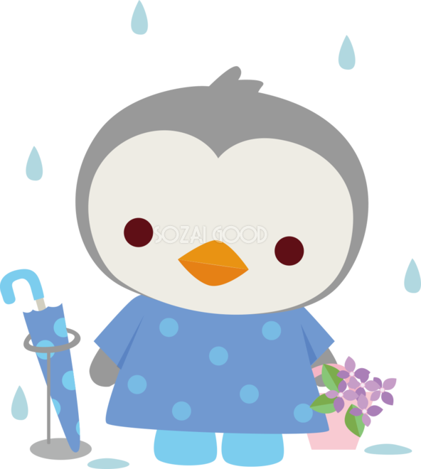 ペンギン 梅雨傘 かわいい動物無料イラスト67438 素材good