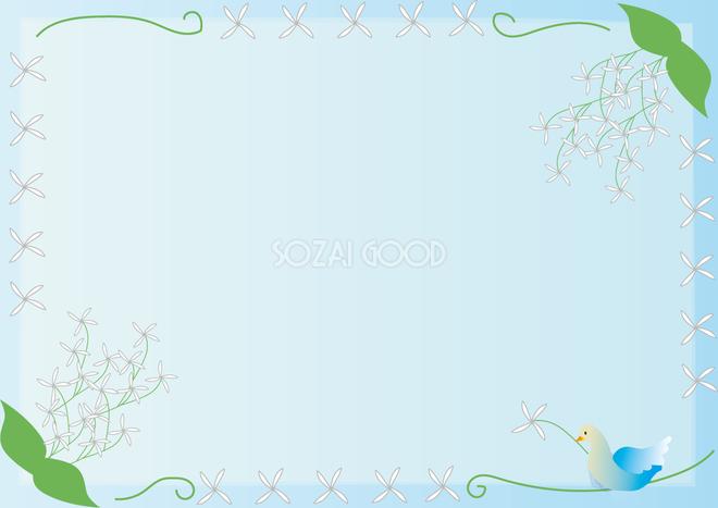 なんじゃもんじゃの木4月 5月の花フレーム無料イラスト68559 素材good