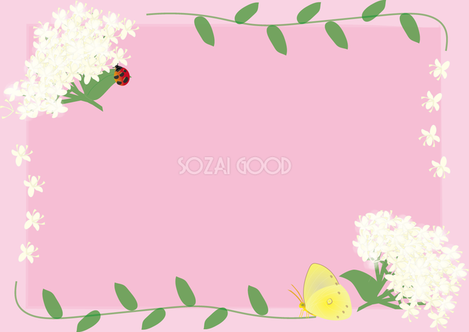 水木みずき春4月 5月の花フレーム無料イラスト68677 素材good