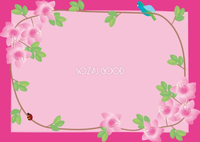 大紫躑躅つつじ春4月 5月の花フレーム無料イラスト68689 素材good