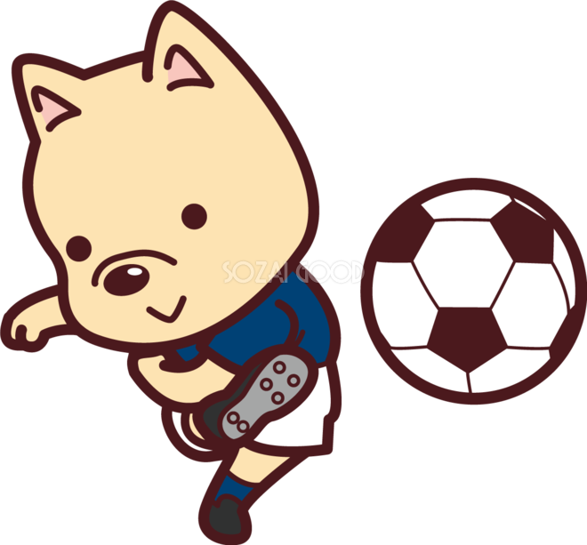 かわいい犬がサッカーシュートオリンピック競技 スポーツ無料イラスト