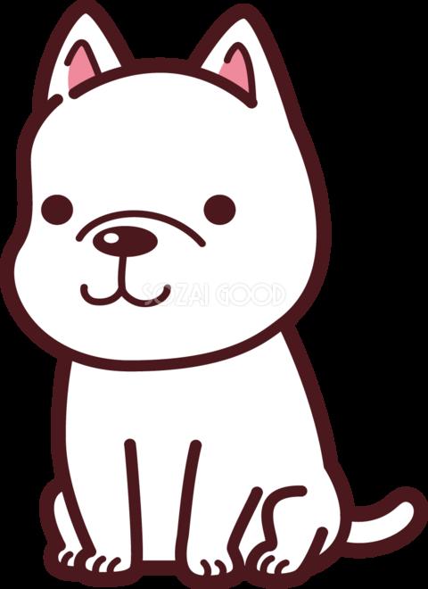 犬白い犬がお座りする無料イラスト69745 素材good
