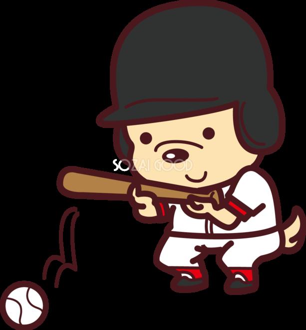 犬が野球ソフトボールバントオリンピック競技 スポーツ無料イラスト