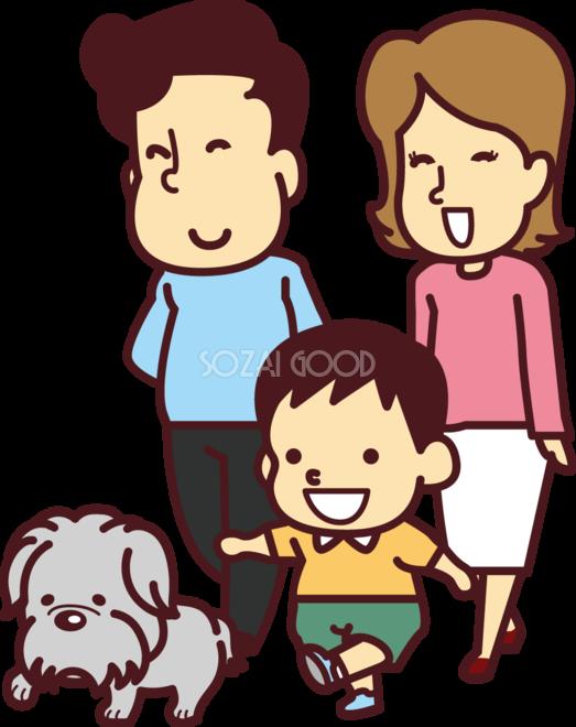 老犬をおでかけ散歩させている子供と家族 かわいい無料イラスト69939