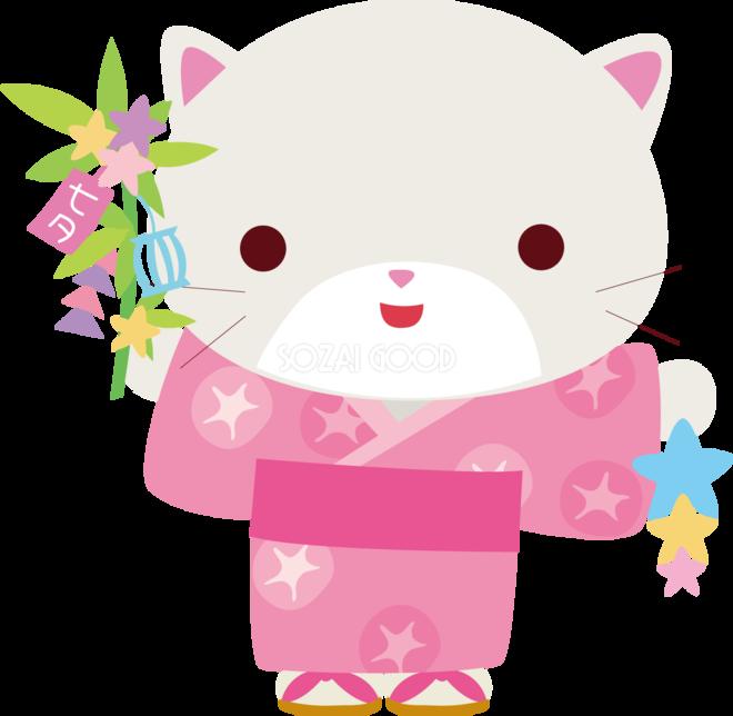 猫 七夕 かわいい動物無料イラスト70845 素材good