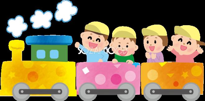 かわいい汽車に乗る保育園児たちの無料イラスト 素材good