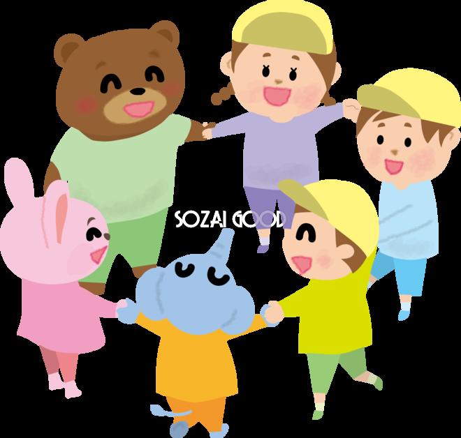 かわいい動物たちと輪になる保育園児の無料イラスト 素材good