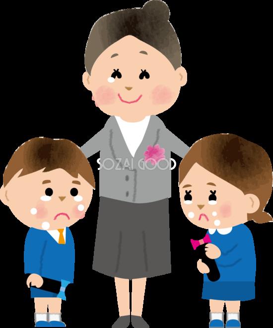 保育士と卒園でお別れし泣く幼稚園児男の子 女の子無料イラスト71215