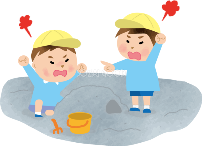 保育園の砂場で喧嘩する子どもの無料イラスト71669 素材good