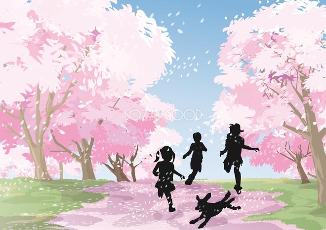 犬と遊ぶ子供達のシルエットと春の風景リアルな背景無料イラスト71693