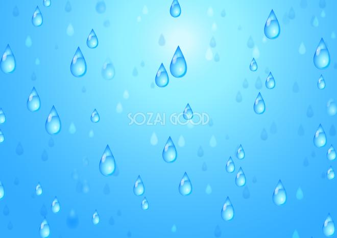 青 ブルーの綺麗なリアル水滴雨しずく柄模様 背景無料梅雨イラスト