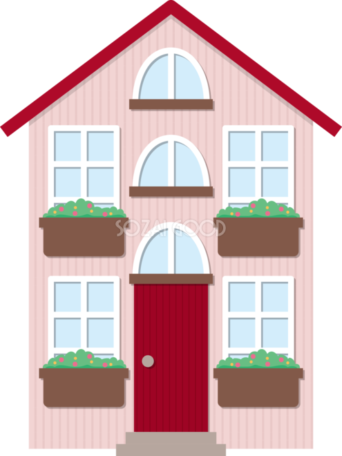 ピンクの可愛い家 無料イラスト71918 素材good