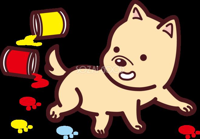 ペンキの缶が転がり犬がそれを踏みカラフルな足跡が沢山 かわいい無料