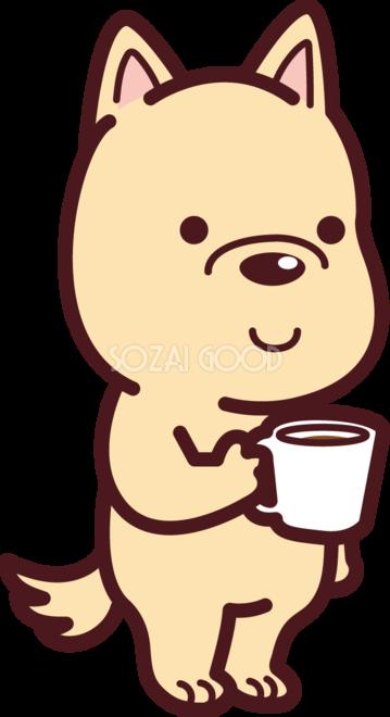 犬がコーヒーカップを持っている かわいい無料イラスト72542 素材good