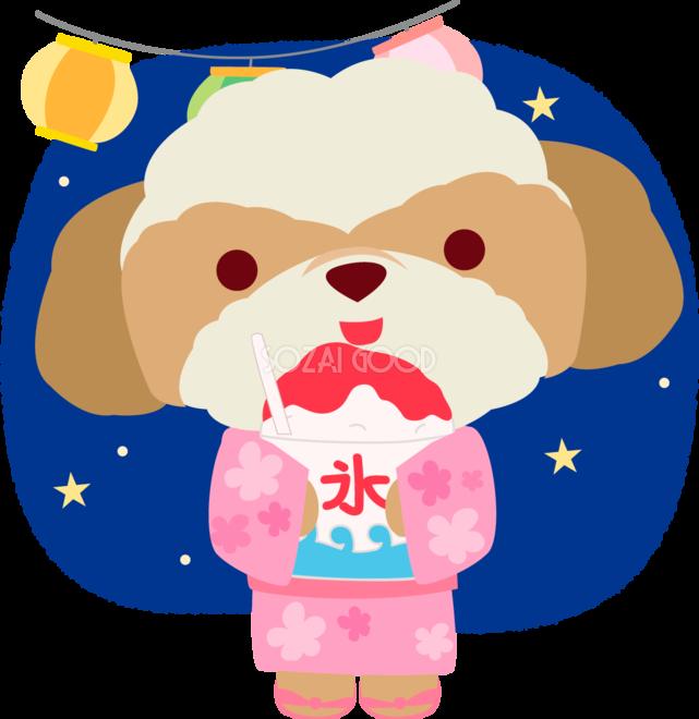 シーズー犬の夏祭り夏祭りでかき氷かわいい動物無料イラスト72859