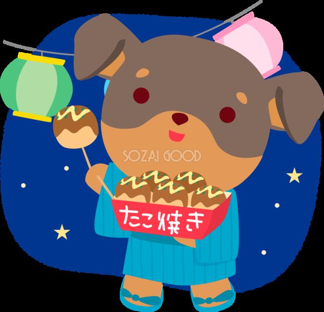 ミニチュアピンシャー犬の夏祭り夏祭りでたこ焼きかわいい動物無料