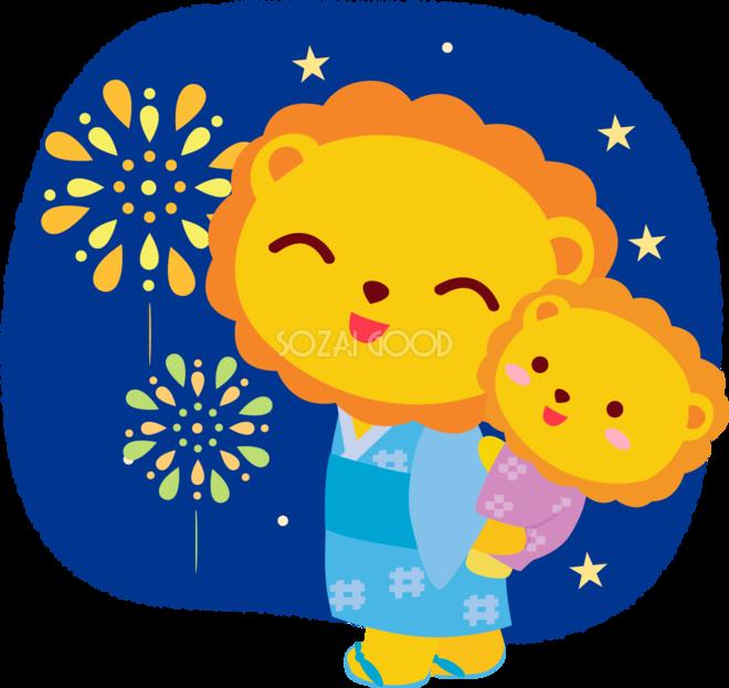 ライオンの夏祭り おんぶで夏祭り かわいい動物無料イラスト 素材good