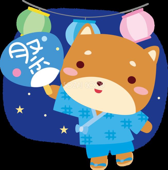 柴犬の夏祭り夏祭りに行くかわいい動物無料イラスト72958 素材good