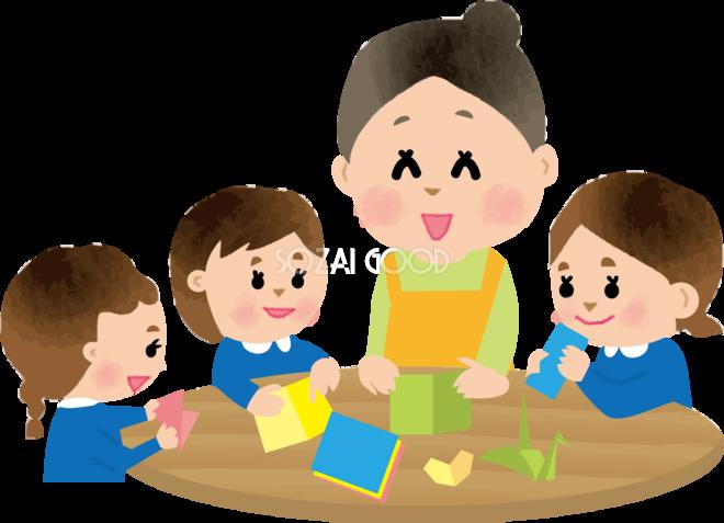 保育士が子供達に折り紙を教える保育園無料イラスト73412 素材good
