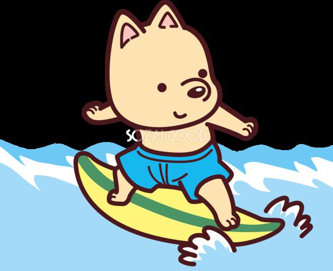 犬が海の波でサーフィン かわいい無料イラスト73485 素材good