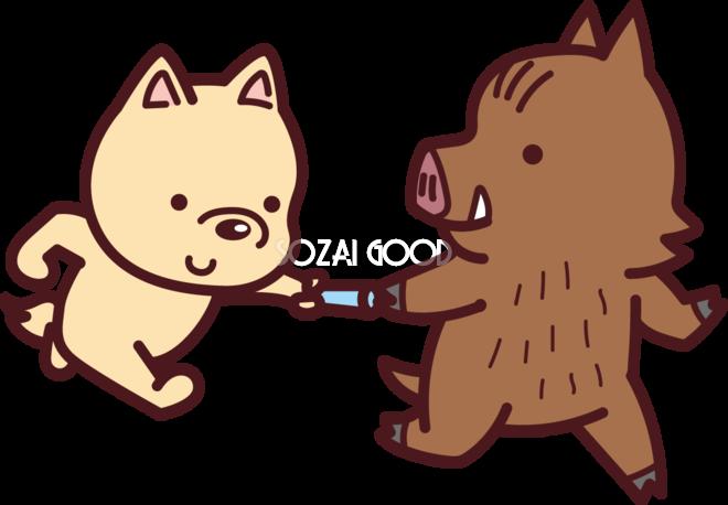 犬から猪にバトンタッチする 2018干支戌年無料イラスト73566