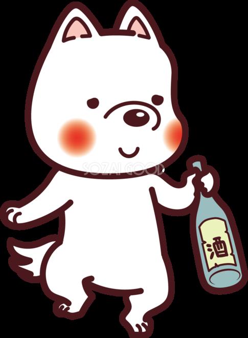 犬が酒を飲んで酔っ払っている 2018干支戌年無料イラスト73570 素材good