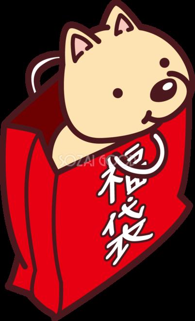 福袋の中からかわいい犬の顔が見える 2018干支戌年無料イラスト73639